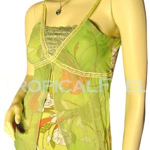 Tops - NEW Womens Green Floral Print Sequin Mesh Lace Top
