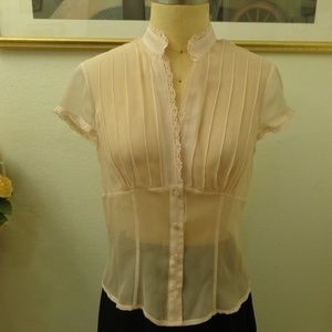 Tops - High Collar Short Sleeve Light Pink Blouse Top