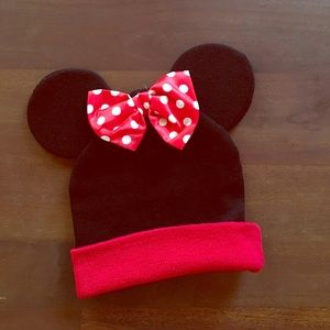 new! minnie mouse ears red bow beanie