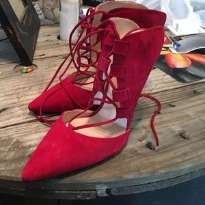 Red suede mules