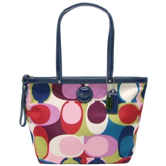 666318c2bf Coach Handbags - Coach Signature Multicolor Scarf Print Tote Bag