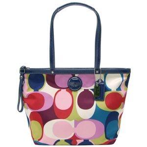 Coach Signature Multicolor Scarf Print Tote Bag