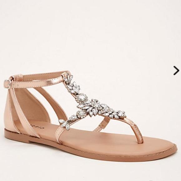 49c23013378 🆕Wide Width Crystal Jewel TStrap Rose Gold Sandal