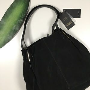 NWT Black Leather/Suede Bucket Bag