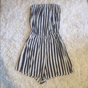 H&M Blue and White Striped Romper