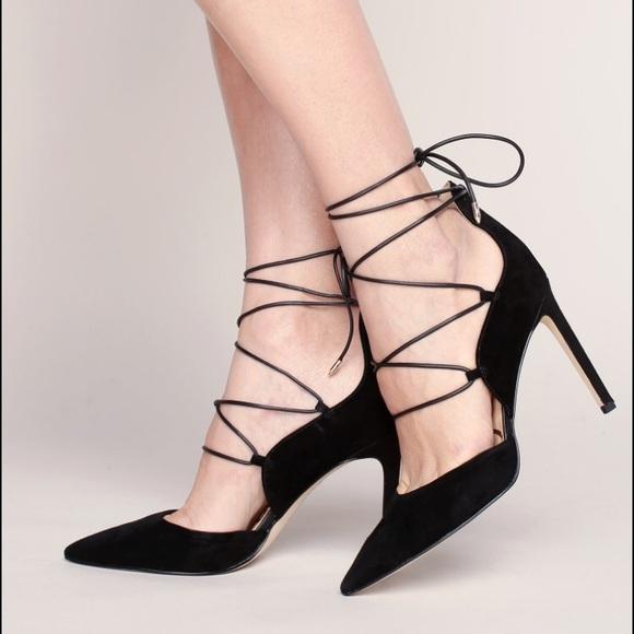 351e96a50438 Sam Edelman Helaine black suede lace up heels 8.5.  M 59bee5ac4127d09824095087
