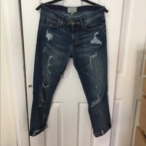 Current/Elliott Dark Distressed Boyfriend Jeans 26