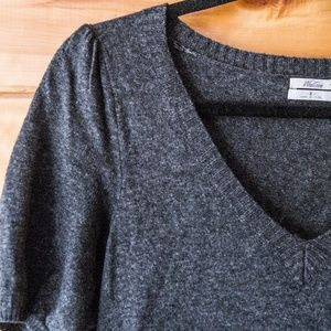 Madewell wool + cashmere v-neck sweater dress,