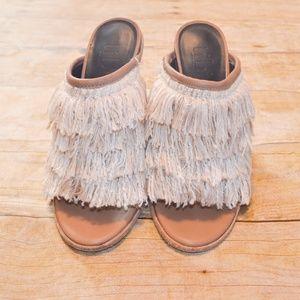 69f5bb9ce34c Tibi Shoes - Tibi Ophelia Fringe Leather Mules Wedges