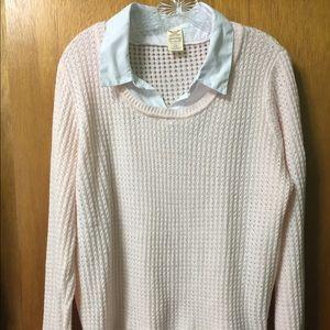 Faded Glory XL pink sweater & mock dress shirt