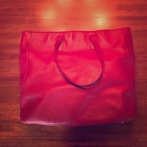 Classic Warm Red Large Leather Tote by Express