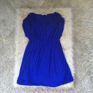 Blue cinch waist dress