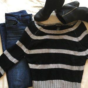 Wet Seal Black & Grey Short Striped Sweater