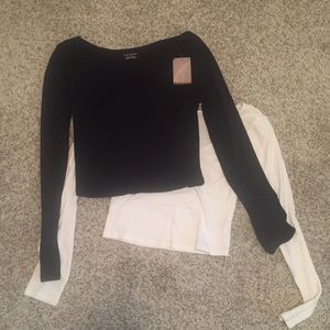 NEW WITH TAGS- black and white long sleeve crop