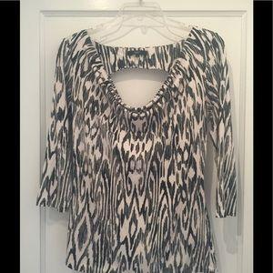 Black & white Tart top - draped neckline & cutout