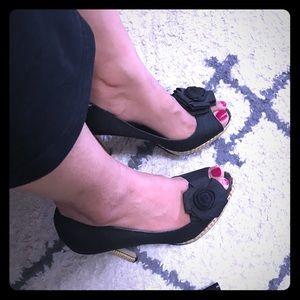 Anne Michelle black heels with flower peep toe - 6