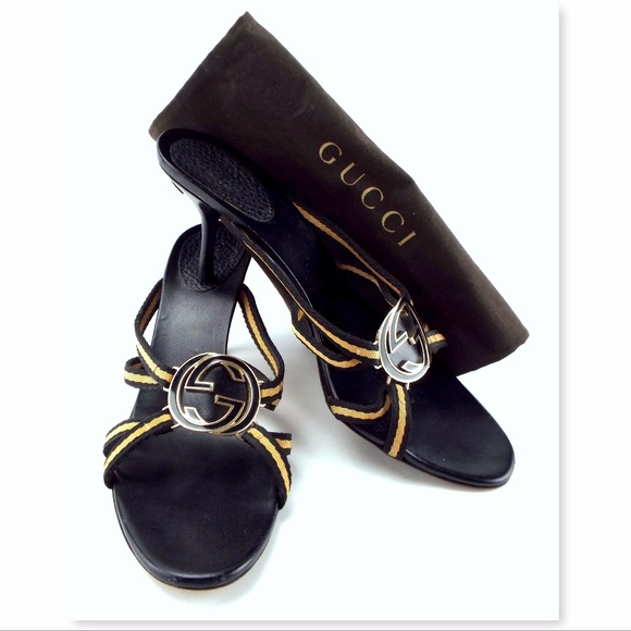 dacc70082b9 Gucci Shoes - GUCCI Black   Beige Logo Medallion Heel Sandal