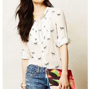 Anthropologie zebra print blouse