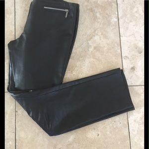 Black soft real leather skinny pants , lined Zara
