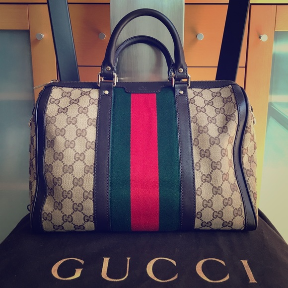 d67d09a6d54117 Gucci Bags | Vintage Web Boston Monogram Canvas Tote | Poshmark