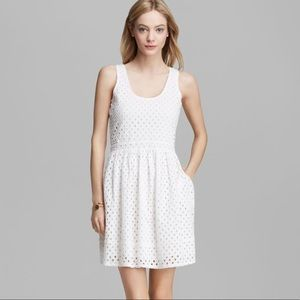 Joie Natrina Diamond Eyelet Dress in White