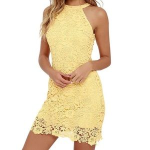 Elegant Halter Neck Sleeveless Lace Dress Yellow