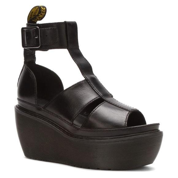 Dr. Martens Bessie Black Leather Platform Shots