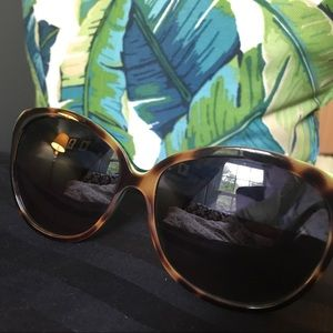 Versace tortoise and green accent sunglasses