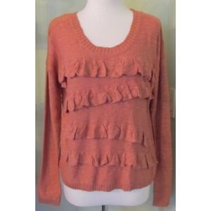 NWT Kensie Ruffle front Peach Clay Sweater M L