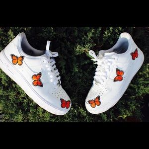 Other - Orange butterfly Air Force ones