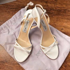 Jimmy Choo - Jasmine White Kid Leather Sandals
