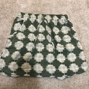 Merona Green/White Pattern Skirt