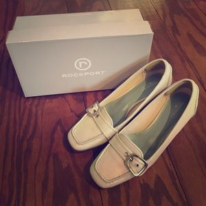 "EUC Rockport Off White Loafers with 3"" Heel"