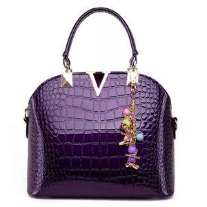 Handbags - 🆕The Valerie Purple Crocodile Embossed Handbag