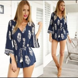 NWOT Blue & White romper