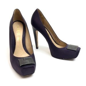 L.A.M.B. • Purple Satin Platform Heels