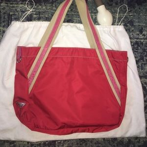 AUTHENTIC Prada Large Red Tote with Ostrich Detail