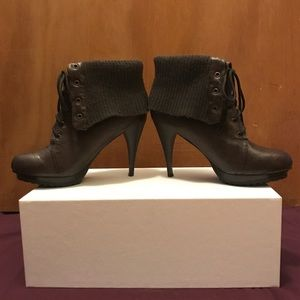 ShoeDazzle Brown leather lace-up sweater booties