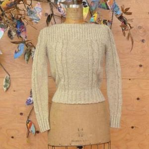 Vintage 70's Woven Knit Cream Sweater S