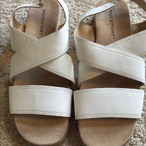 Rockport white sandals 8.5 wide