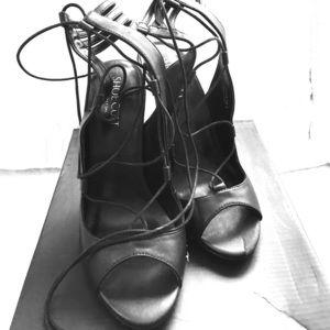 "Black Lace up 4"" Heels"