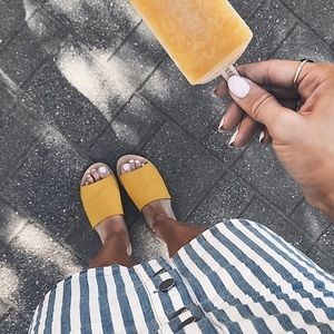 Faux suede yellow slides