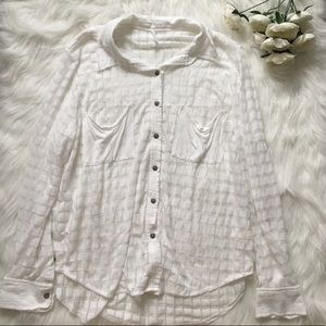 White Checked Sheer Casual Button Up Shirt