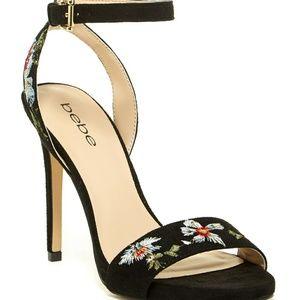 """Bebe """"Ingram"""" Embroidered Floral Heel Sandals"""