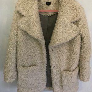 Gorgeous Topshop Teddy White Coat