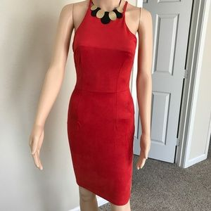 Red suede dress Small