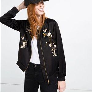 NEVER WORN ZARA satin embroidered jacket