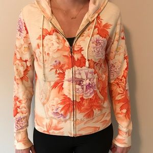 Lucky brand floral hooded zip up  - Med