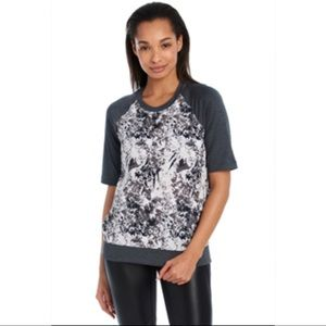 NWT Lolë Zaida top charcoal gray flowers