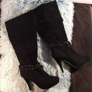 ANNA Black Suede Calf-Hi Stiletto Boots with chain